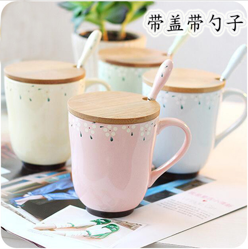 Ceramic Mug Cup Fresh Retro Style Breakfast Coffee Milk Juice Cup With Wooden lid A Ceramic