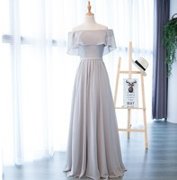 2019 New Lady Chiffon Dress For Weddig Party Gray Slash Neck Women Princess Bridesmaid Banquet Prom Gowns Long Maxi