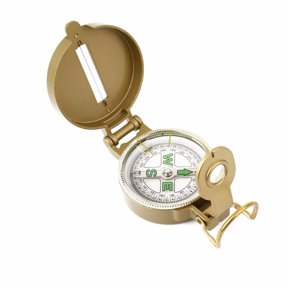 Army Yellow Mountaineering Camping Compass With Ruler Magnifying For Mountaineering Hiking Activities