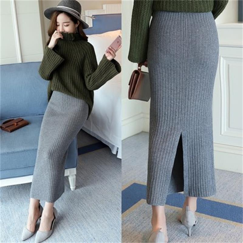 Hight Quality Autumn Winter Woolen Skirts Slim Belt Office Long Midi Skirt Step Pencil Skirt Knitted Wool Skirt        T774