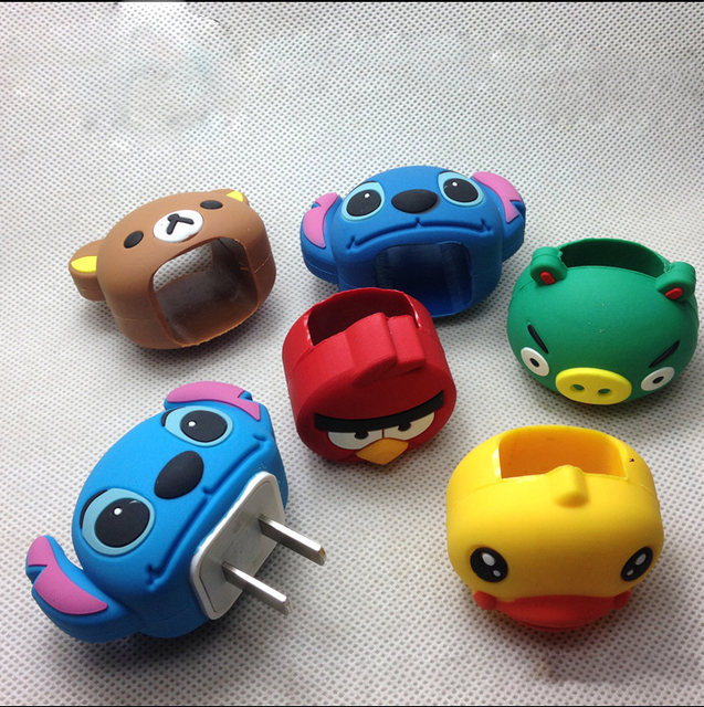 New Cartoon Cute Phone Charger Adapter Plug Power Adapter Cases Protector For iPhone 5 5s 6 7 Charger Cover Case