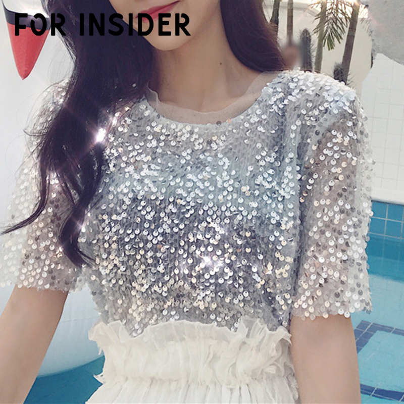 For Insider Mesh white sequin   blouse     shirts   women Short sleeve ruffle collar korean   blouse   Sexy party club summer blusas tops