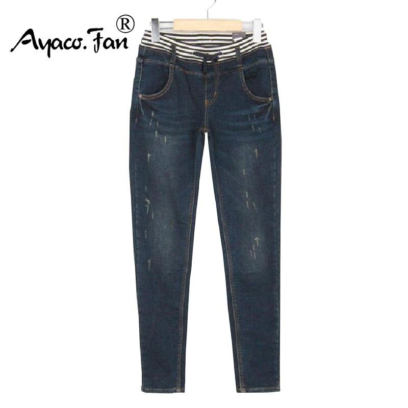 2018 Femmes Jeans Dames Plus La Taille XXXXXL Taille Haute Lavé Bleu foncé  Rayé Denim Pantalon Droite Jean Femme Pour Les Femmes Jeans b54f9e29a7be