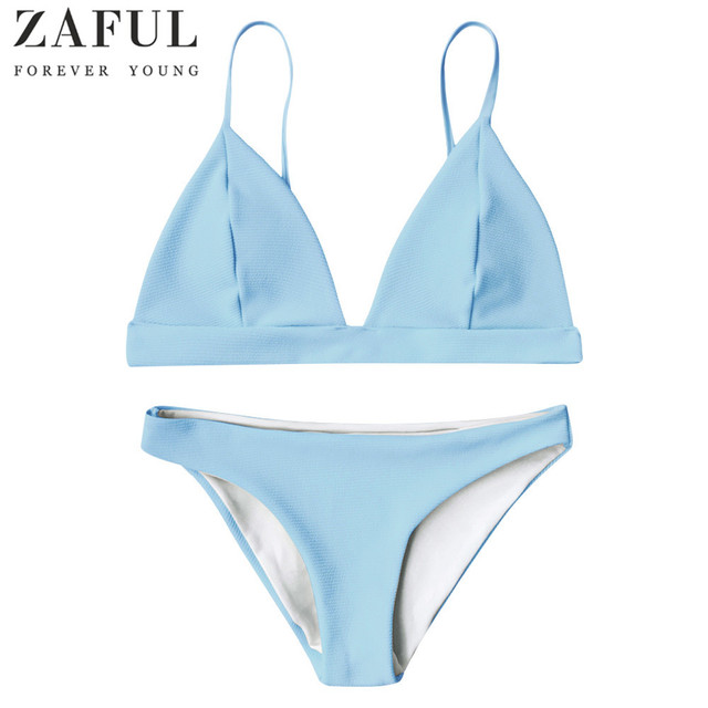 2b818b7308e18 ZAFUL Sexy Solid Color Bikini Set Cami Plunge Bikini Top And Bottoms Women  Swimwear Push Up Bathing Suit Swimsuit Biquinis Femme. 1 order