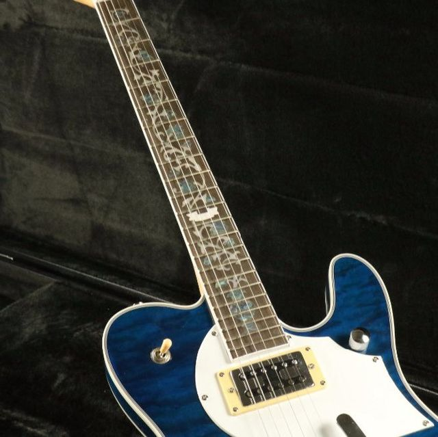 Quilted Maple Top Semi Hollow Body Electric Guitar T-01 Abalone Inlay Bigsby Bridge Blue Tele Free Shipping 4