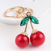 Fashion Golden Color Creative KeyRing Chain Red Cherry Bag Ornaments Crystal Key Chain Jewelry Key Chain Ring Pendant