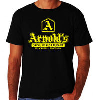 Arnolds Diner Classic Happy 80 S USA TV Show New Black Mens Days Burger T Shirt