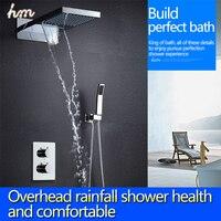 Система Душ Ванна Водопад дождь смеситель для душа Установить в стены высокого качества 2 функции Глава Душ + ручной душ