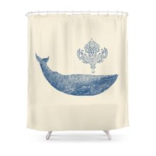 CHARM HOME Damask Whale Polyester Fabric Bathroom