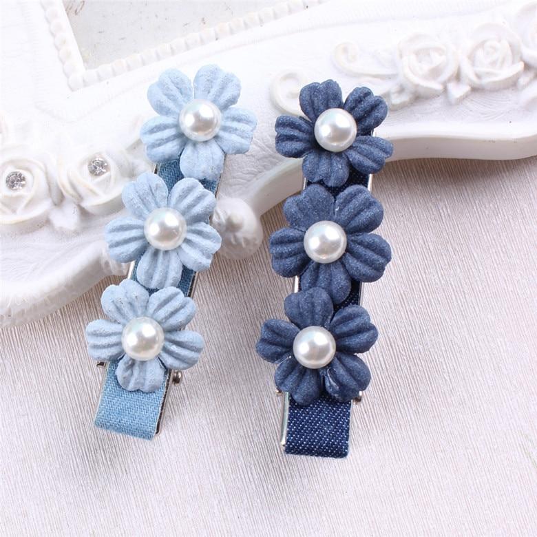 Nauji atvykimo vaikai Pearl gėlių plaukų aksesuarai džinsinio Bowknot plaukų klipas Vaikai karūnos aksesuarai Baby Cute Hairpins