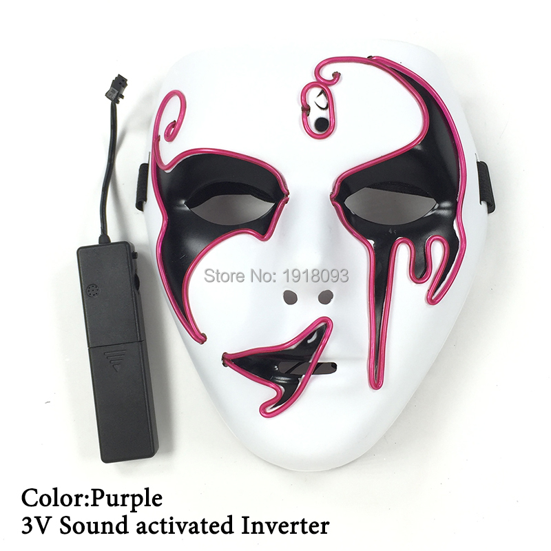 Glowing Props for Festival Party Decoration 10 Colors EL Wire Mask LED mask Holiday Lighting Product with Sound Driver