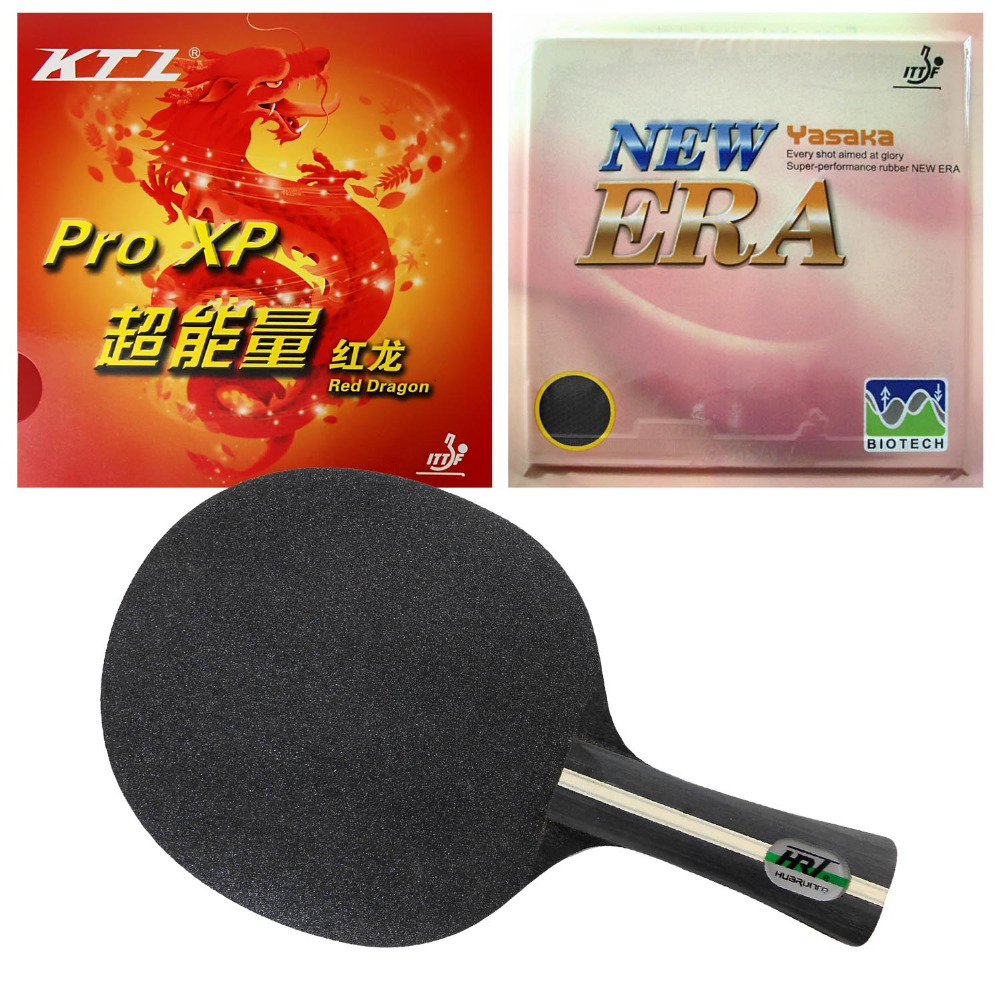 HRT Black Crystal Blade with Yasaka ERA 40mm NO ITTF + KTL Pro XP Red Dragon Rubbers for a Table Tennis Combo Racket FL pro combo racket galaxy yinhe t 11 blade long shakehand fl with yasaka era balance no ittf and spin no ittf rubbers