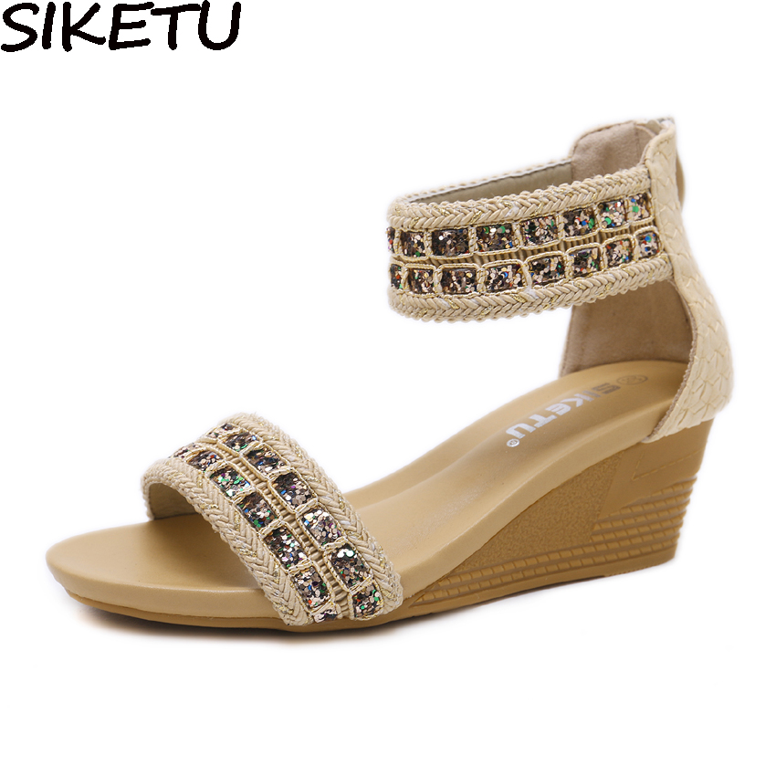 SIKETU 2018 Bling Women Wedge Heel Ankle Wrap Bohemia Sandals Sequined Shoes Casual Gladiator Sandals Patchwork Med Heels 35-42SIKETU 2018 Bling Women Wedge Heel Ankle Wrap Bohemia Sandals Sequined Shoes Casual Gladiator Sandals Patchwork Med Heels 35-42