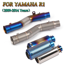 цена на Motorcycle Exhaust Stainless steel Side Row Middle Link Pipe No Motorcycle Muffler Slip-on For Yamaha R1 YZF-R1 2009 - 2014