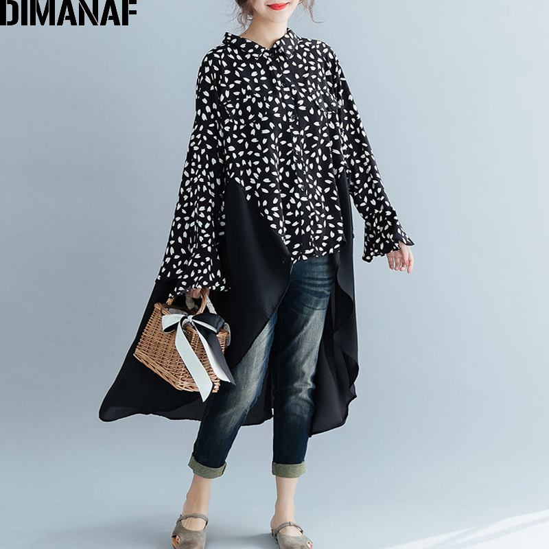 DIMANAF Plus Size Women Blouse Shirt Lady Tops Tunic Big Size Chiffon Long Sleeve Loose Casual Female Clothes Print Spliced 2019