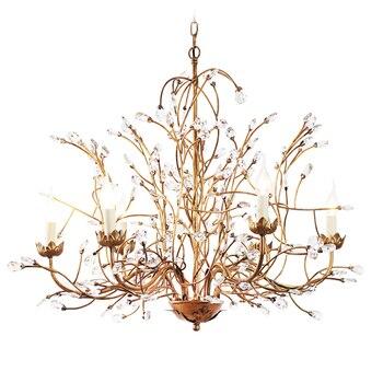 Люстра в виде ветки дерева, с 6 ручками, латунная отделка, кантри стиль, железный блеск, K9, кристаллический винтажный светильник