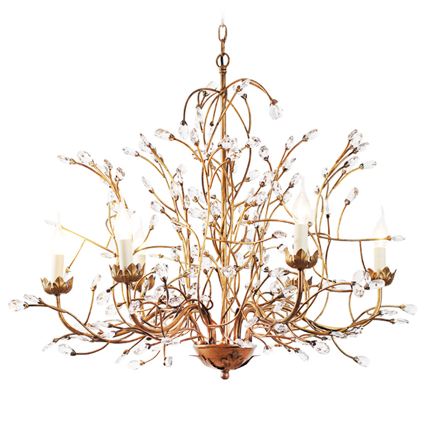 Tree Branch Chandelier 6 Arm Aged Brass Finish Country Style Iron Re K9 Crystal Vintage