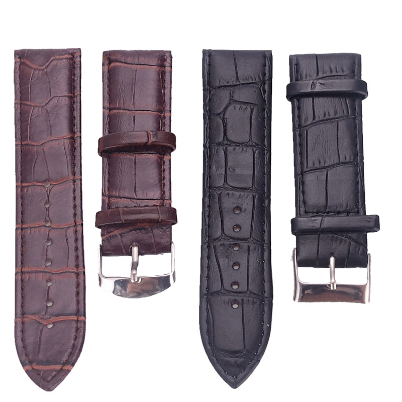 цена на Zazac High Quality Crocodile Pattern Leather Watchband 20 22 24MM Men Women Watch Strap Pin Buckle Clock Watch Accessories