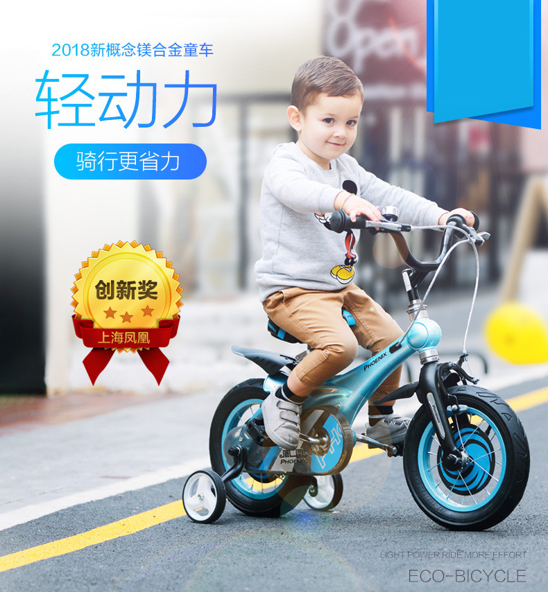 Sale New Brand Magnesium Alloy Frame Child Bike 12/14/16 inch Auxiliary Wheel Dual Disc Brake Bicycle Boy Girl Children buggy 1