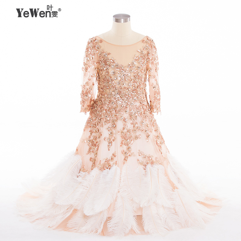 Yewen beach ostrich feathers china long sleeves flower for Flower girl dress for beach wedding