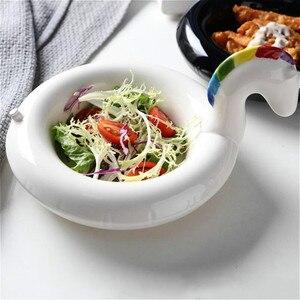 Image 5 - クリエイティブフラミンゴ雪だるまボウルボウルユニコーンスナックプレート黒白鳥スナックプレートアイスクリームヨーロッパスタイルのフルーツ皿