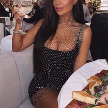 Festival Queen Bling Rhinestones White Black Mesh Hollow Out Dress Sexy Sleeveless Fishnet Bodycon Women Summer Party Dresses(China)