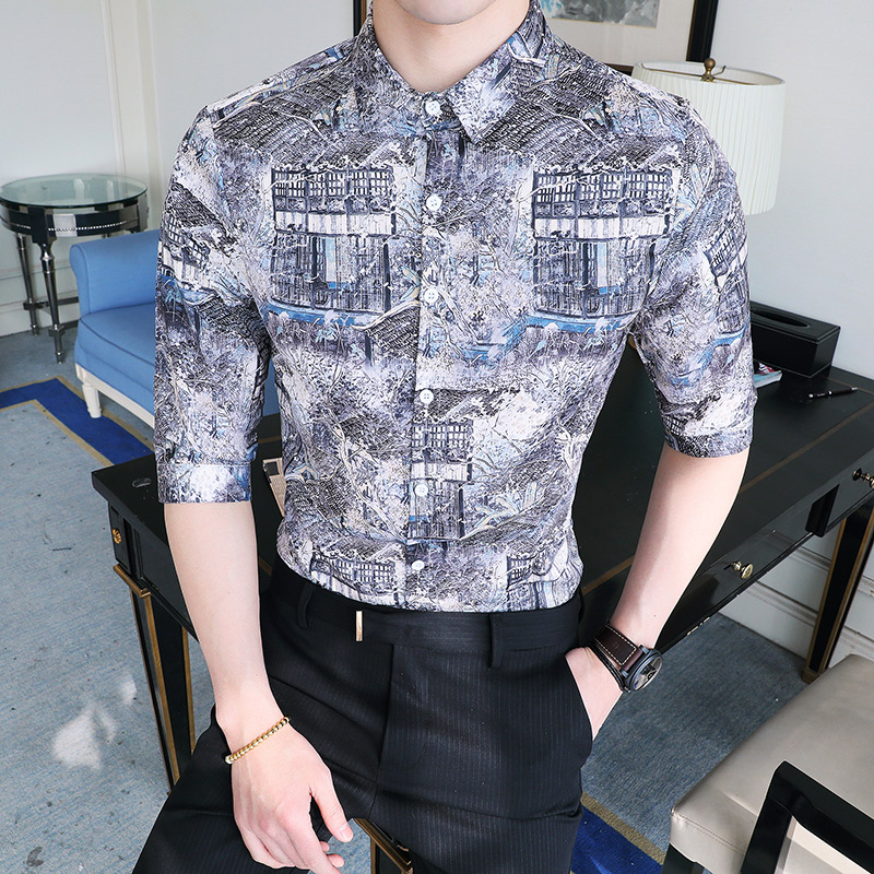 new male half sleeve shirt fashion slim flower shirts men pattern printed  country style tide Summer Dress Shirts large size 5XL-in Casual Shirts from  Men s ... 7efefc740