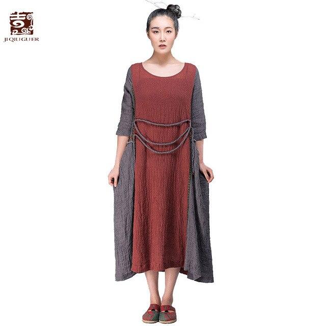 162be89c15 Jiqiuguer Women Patchwork Long Linen Dresses Vintage Plus Size O-neck Big  Pockets Lace-up Loose Casual Summer Vestidos G152Y015