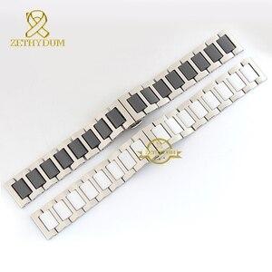 Image 4 - קרמיקה צמיד ב נירוסטה רצועת השעון שעון רצועת נשים גבר שעוני יד להקת 12 14 16 18 20 22mm לבן פרפר אבזם