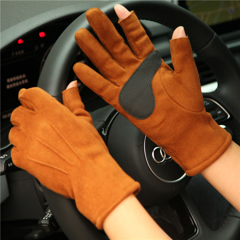 Autumn Winter New 2019 Thicken Plus Velvet Imitation Suede Unisex Man Woman Gloves Exposing Two Fingers Driving Mittens SZ025
