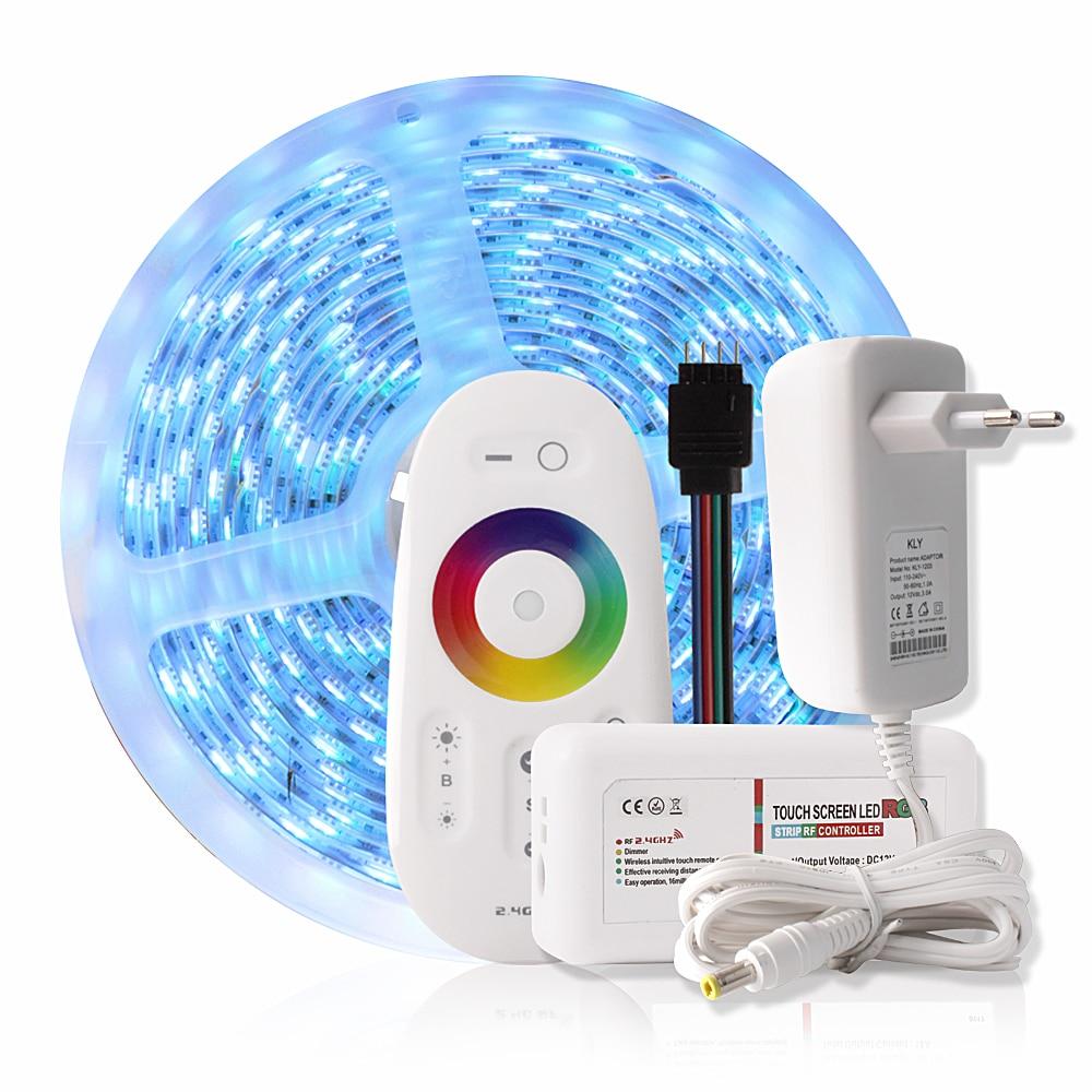 5M 300LEDs RGB LED Strip Waterproof 5050 RGBWW RGBW Led Strip Lights Flexible Neon Tape + 2.4G Remote Controller DC 12V 3A Power