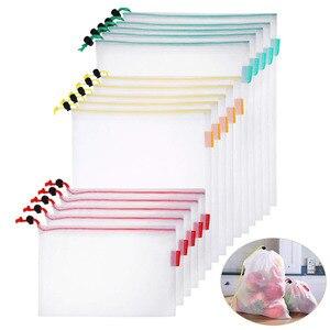 Image 1 - 15 шт., многоразовые сетчатые мешки для хранения продуктов