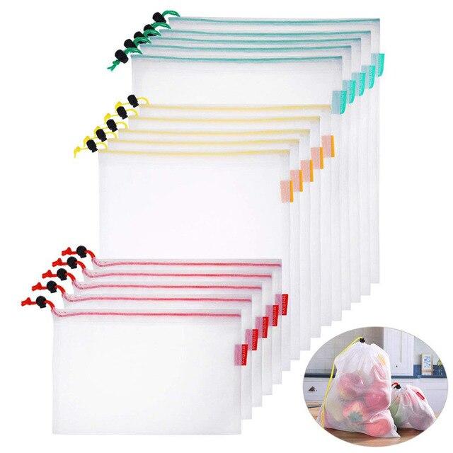 15 шт., многоразовые сетчатые мешки для хранения продуктов