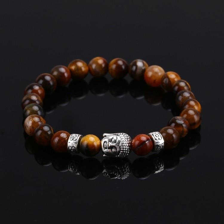 Tiger Eye Lava Stone Bead Buddha Bracelet Jewelry Yoga Prayer Bracelets Men Women Mujer Pulseras Fashion Jewelry