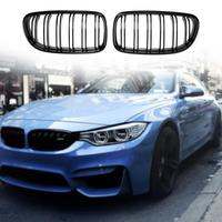 1 Pair Gloss Black Double Rib Front Bumper Kidney Grille For BMW E90 E91 08 11