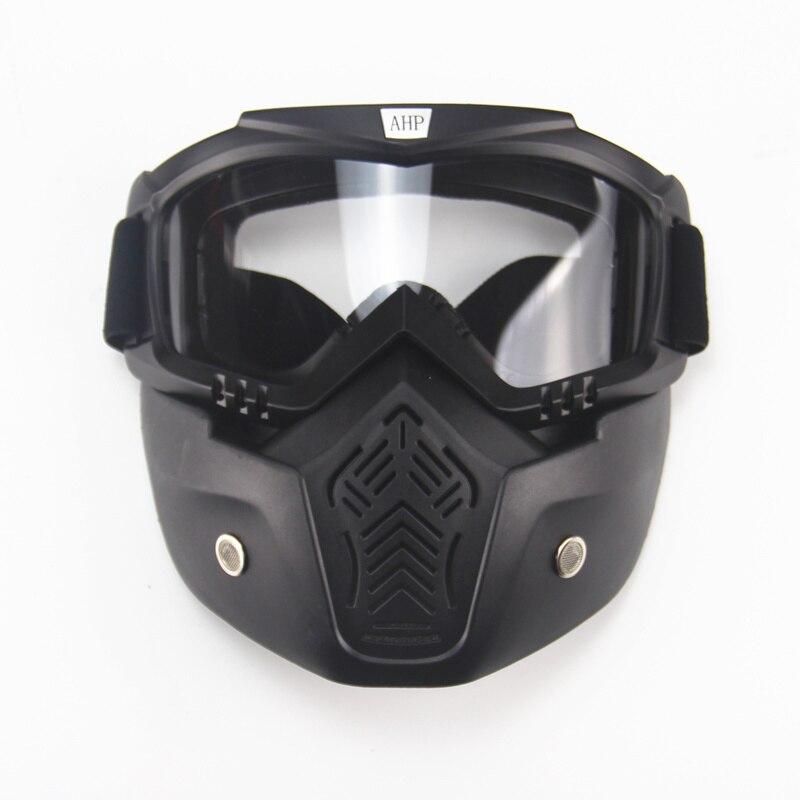 Ski vélo moto masque facial lunettes Motocross moto moteur visage ouvert détachable lunettes casques Vintage lunettes universel - 3