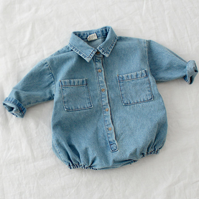 Autumn Baby Toddler Long Sleeve Lapel Collar Denim Jeans Rompers Kids Infant Jumpsuits Baby Boys Girls Clothes Fashion Rompers