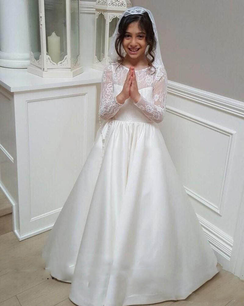 A Line Lace Flower Girl Dress For Weddings Junior Bridesmaid Dress Satin Kids in Flower Girl Dresses from Weddings Events