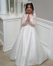 A Line Lace Flower Girl Dress For Weddings Junior Bridesmaid Satin Kids
