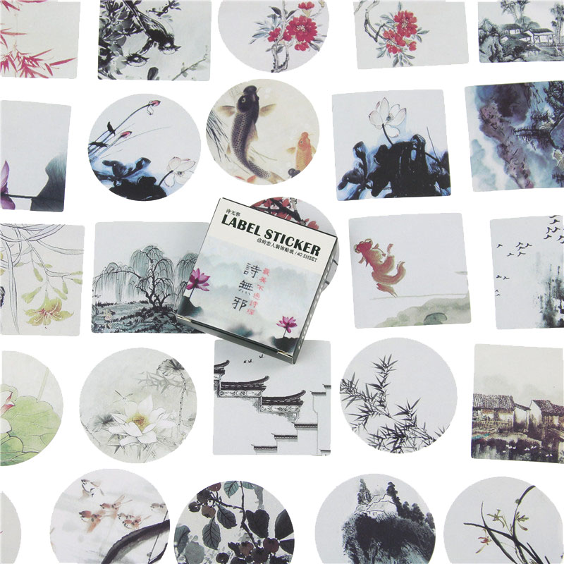 40 Pcs /Pack Japanese Style Mini Stickers Landscape Painting Paper Seal Sticker Diy Decoration Label Office School Supplies