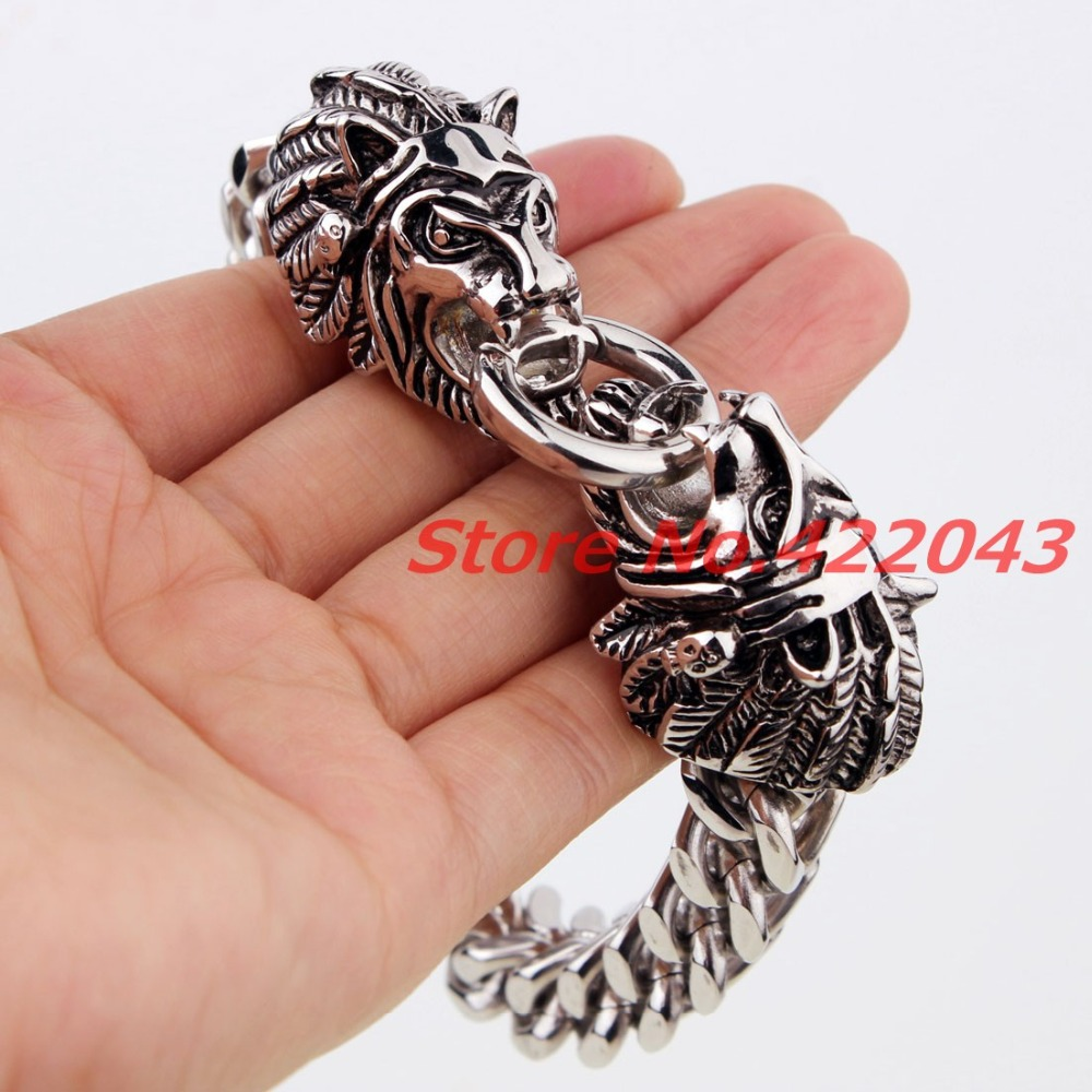 """New Heavy Men's Bracelet 316L Stainless Steel Silver Figaro Chain For Animal Heads Style Cuff Bangle Jewelry Gifts 8.66""""*11mm"""