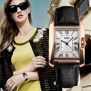 Image 2 - SKMEI Merk Vrouwen Horloges Mode Toevallige Quartz Horloge Waterdichte Lederen Dames Horloges Klok Vrouwen Relogio Feminino