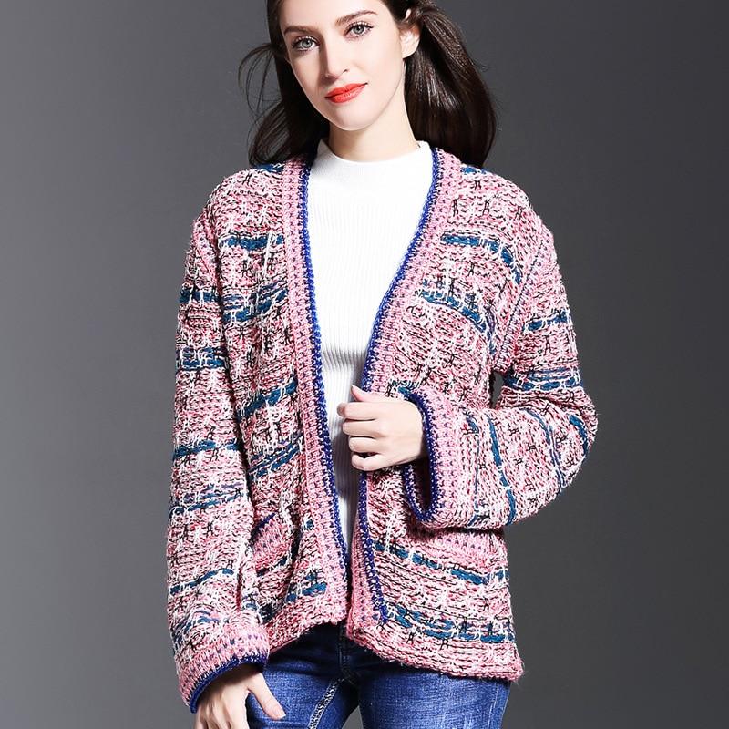 Micosoni French Fashion 2017 Autumn New Office Lady Pink Blue Jacket Stripe Knit Open Stitch Sweater Doubles Pocket Cardigan S-L
