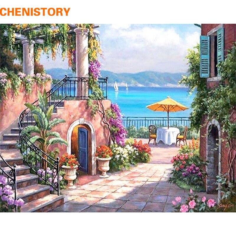 CHENISTORY Seascape Moderna Pittura di DIY Dai Numeri Kit Dipinto A Mano Pittura Ad Olio di Arte Della Parete Immagine Complementi Arredo Casa Per Soggiorno Opere D'arte