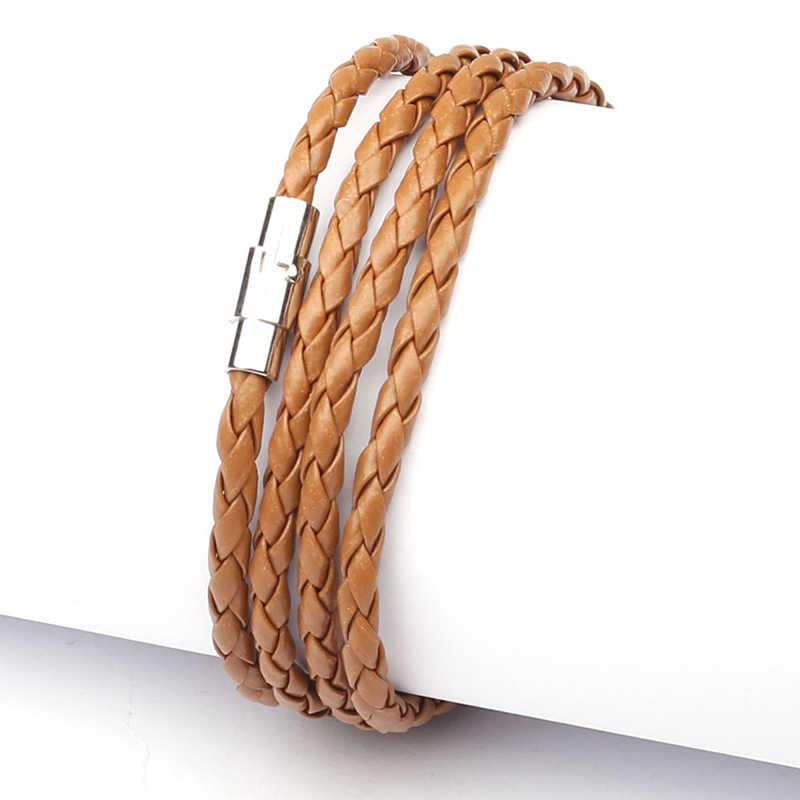 NIUYITID кожанный браслет для мужчин аксессуары ручной вязки Плетенный из искусственной кожи веревка Braclets мужские ювелирные изделия повязки mannen