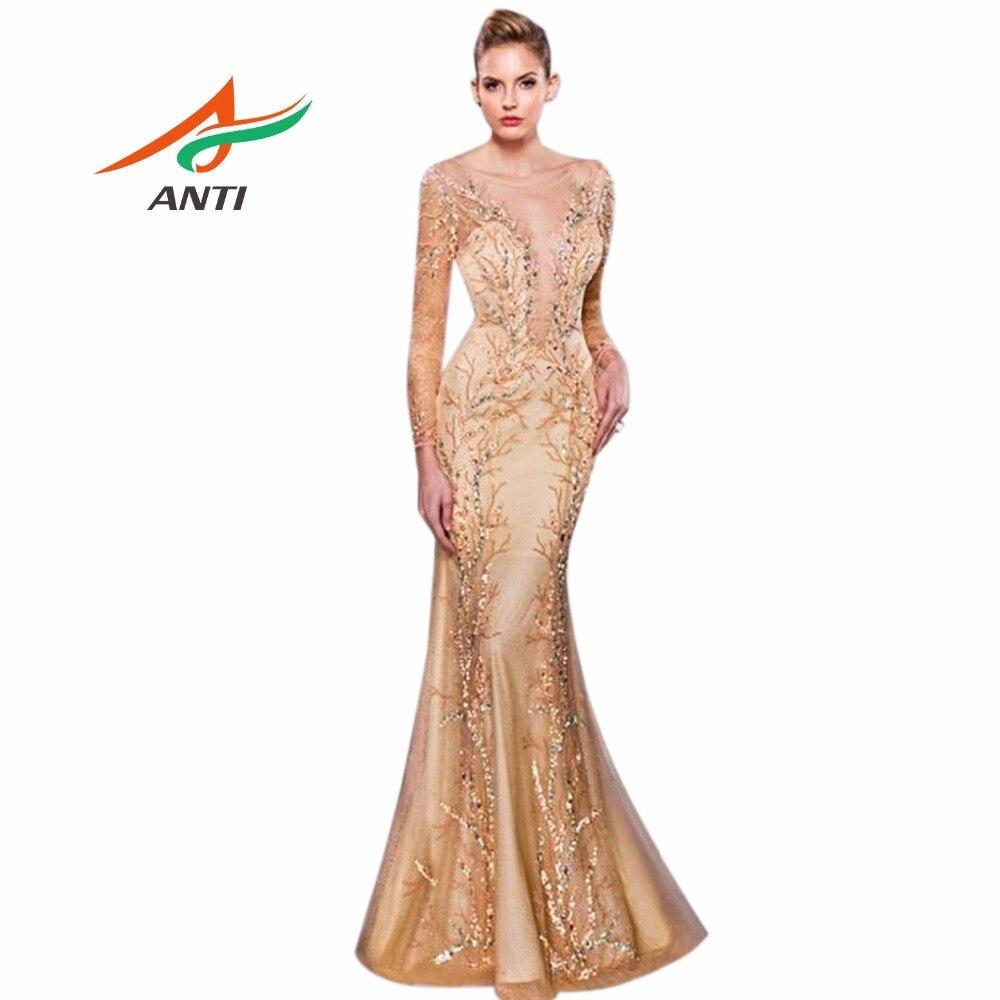 ANTI 2018 Luxury New Design Evening Dress Long Sleeve See Through ...