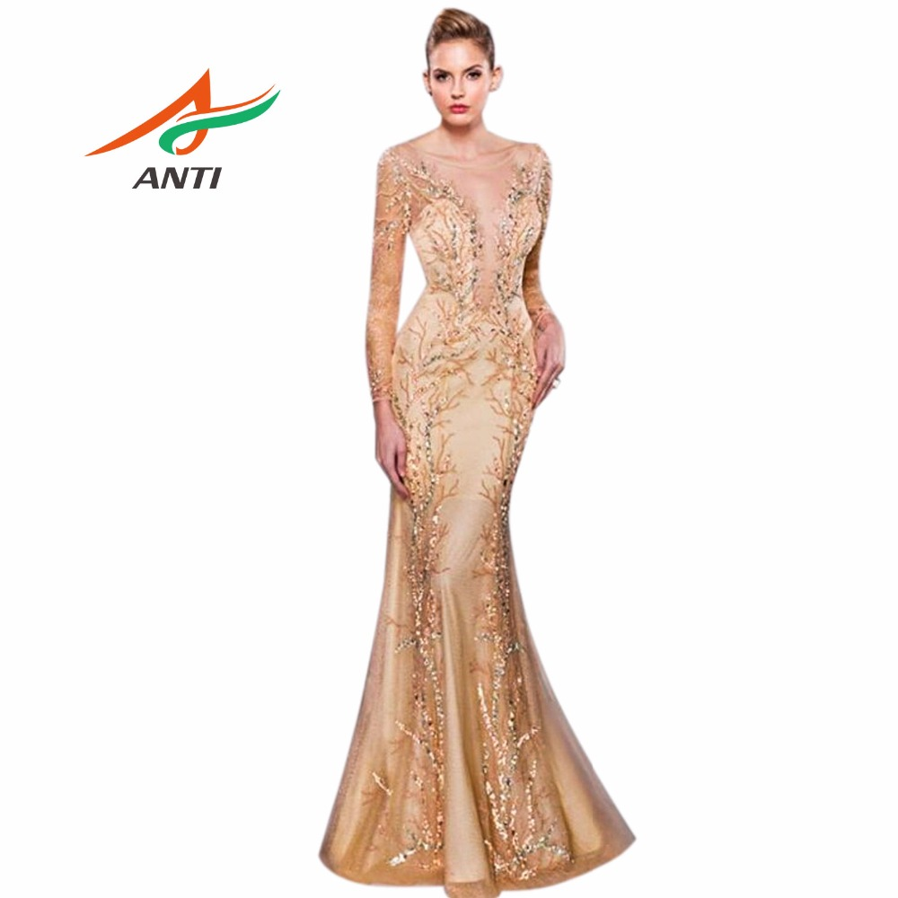 ANTI 2018 Luxury New Design   Evening     Dress   Long Sleeve See Through Vestido De Festa Longo Formal   Evening   Party Gowns Custom Made