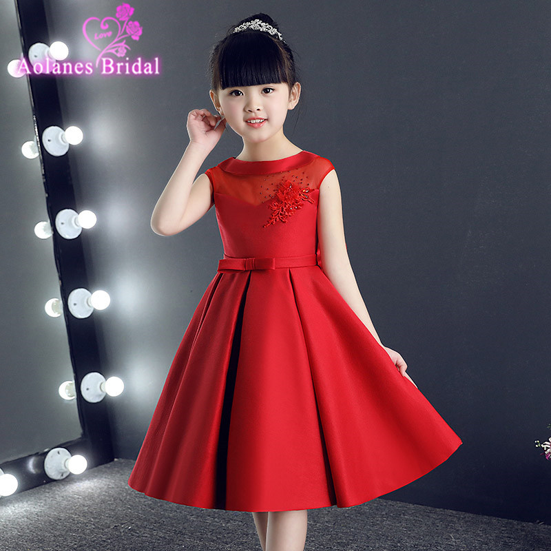 Evening Red Flower Girl Dresses 2017 New First Flower Girl Dress vestidos de primera comunion