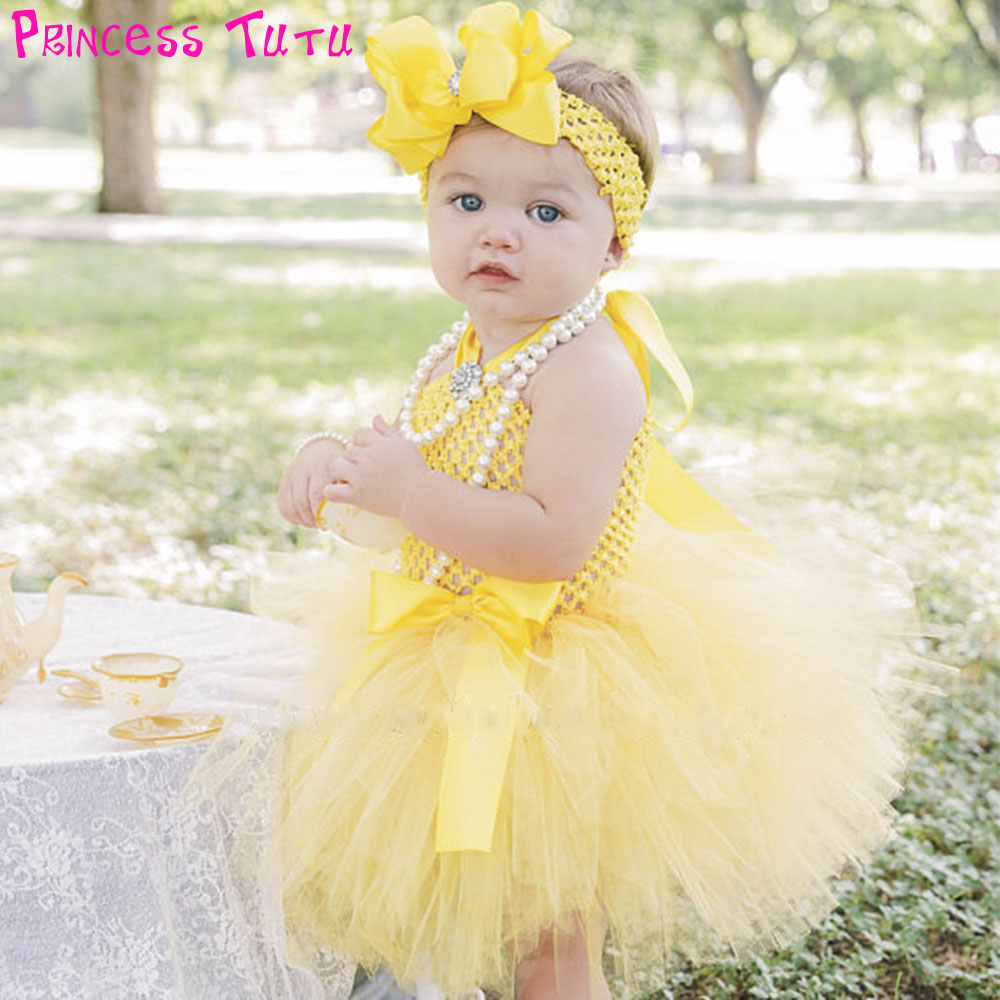0ce047a64 Cute Princess Belle Baby Tutu Dress Princess Girl Yellow Birthday Party Dresses  Infant Toddler Spring Summer Clothes For Nb-2t