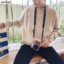New 2019 Autumn Korean Fashion Oversized Knit Sweater Round Collar Casual Men Knit Sweater Loose Ripped Men Sweater Pullover